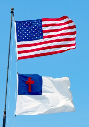Church and state: the Christian (Protestant) flag flying below the United States flag